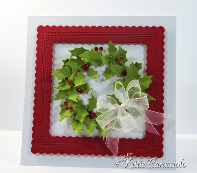 Come see how I made this framed die cut holly wreath.