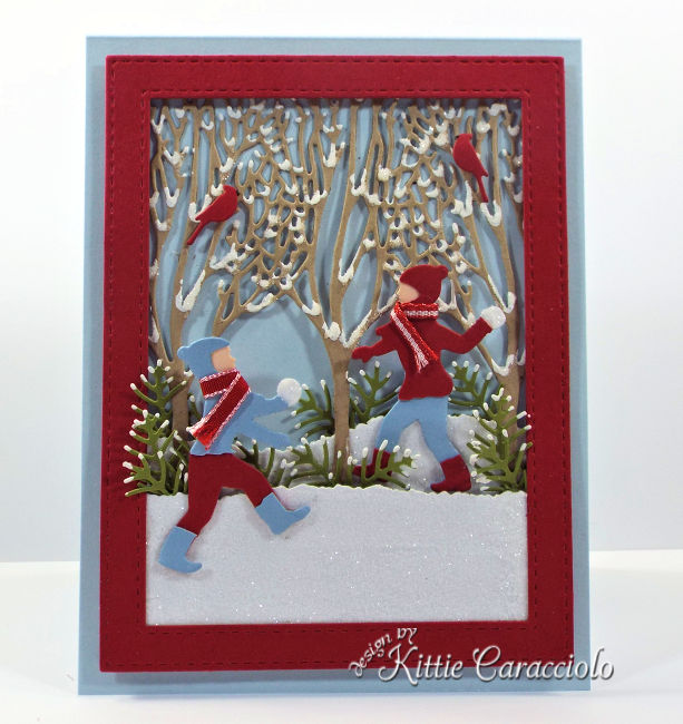 Come see how I made this fun Impression Obsession die cut snowball fight scene.