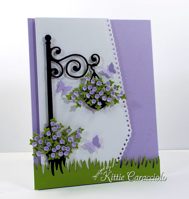 Come see how I made this lovely die cut lamp post and flowers scene.