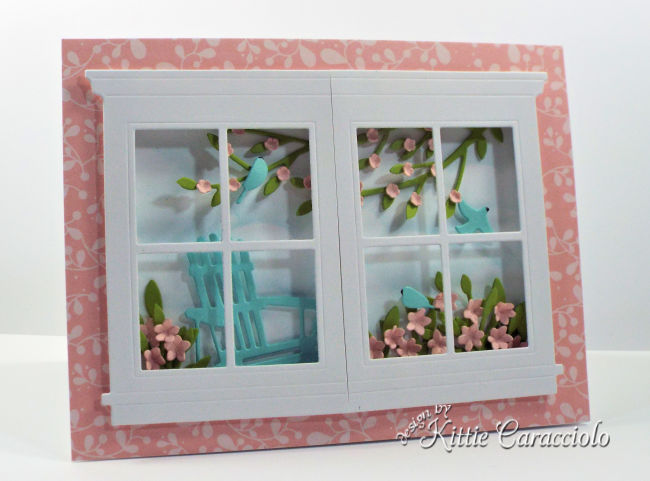 Come see how I made this peaceful die cut window and adirondack chair scene card.