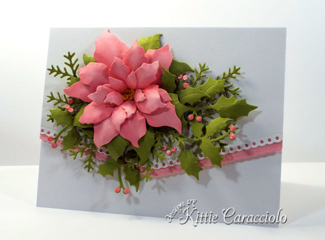 Come see how I made this poinsettia Christmas card with holly and pine sprig branches.