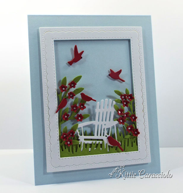 Come see how I made this pretty die cut adirondack chair scene card.