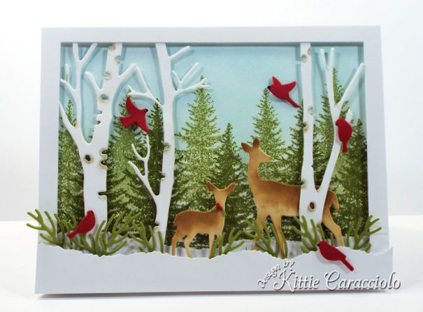 Come see how I made this pretty die cut deer winter scene.