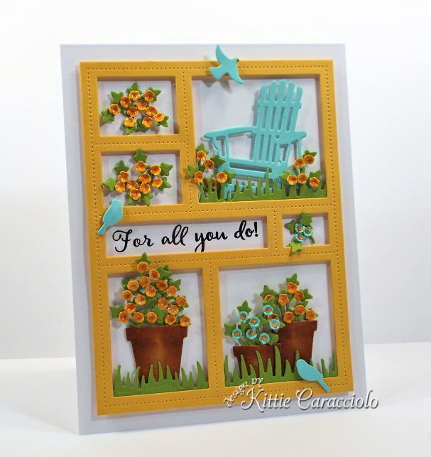 Come see how I made this pretty die cut window frame card.