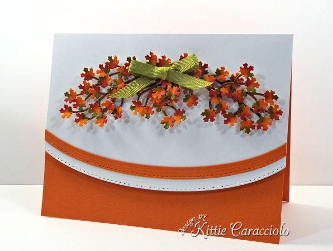 Come see how I made this pretty tiny die cut fall leaves card.