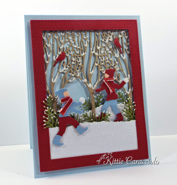 Come see how I made this sparkly Impression Obsession die cut snowball fight scene.