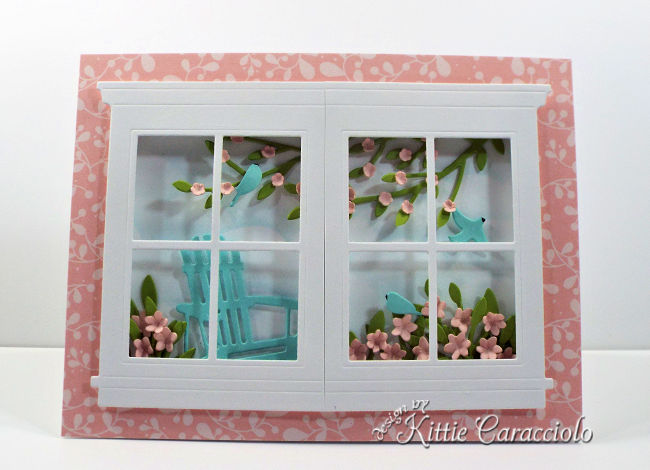 Come see how I made this tranquil die cut window and adirondack chair scene card.