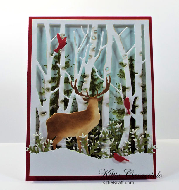 Come see how I made this winter die cut birch tree and deer scene card.