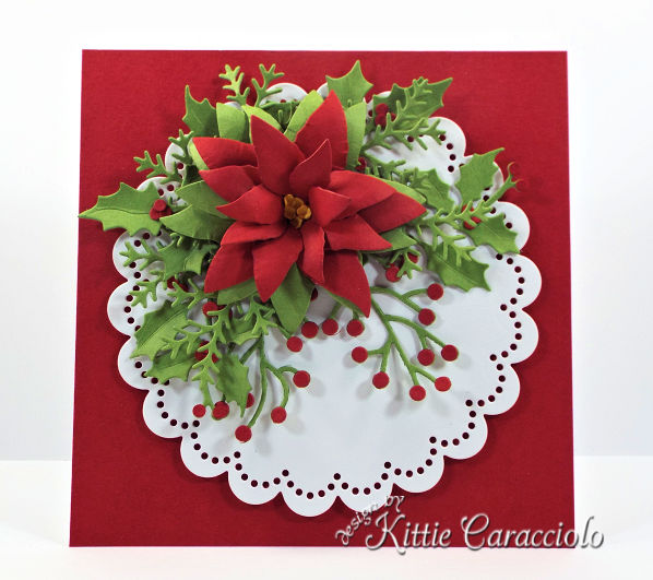 Come check out how I made this elegant die cut poinsettia and holly Christmas card.
