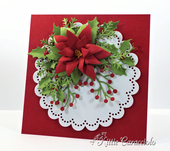 Come check out how I made this pretty die cut poinsettia and holly Christmas card.