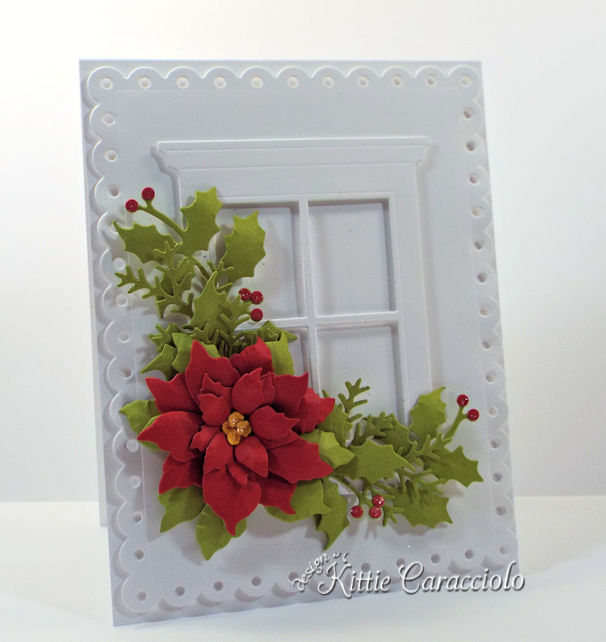 Come see how I made this bright and festive die cut window and poinsettia card.