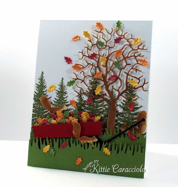 Come see how I made this die cut fall tree and wagon scene.