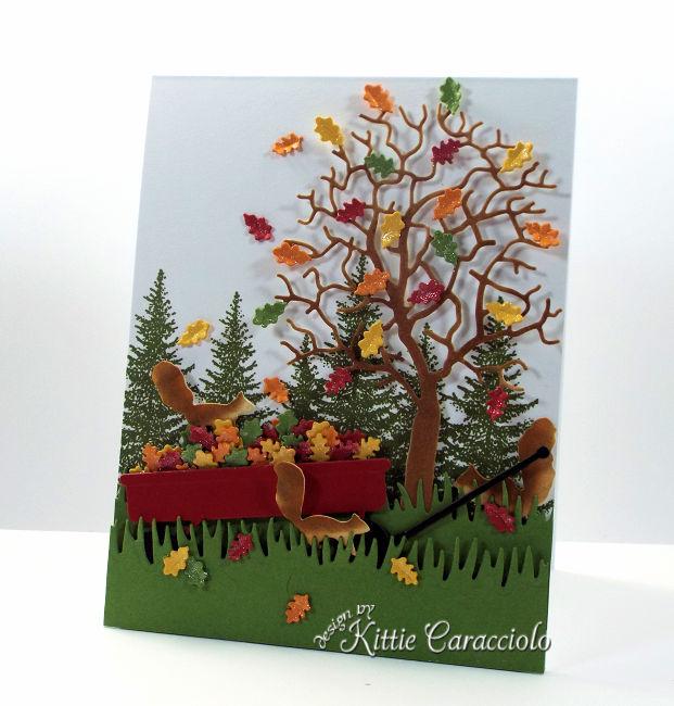 Die Cut Fall Tree and Wagon Scene