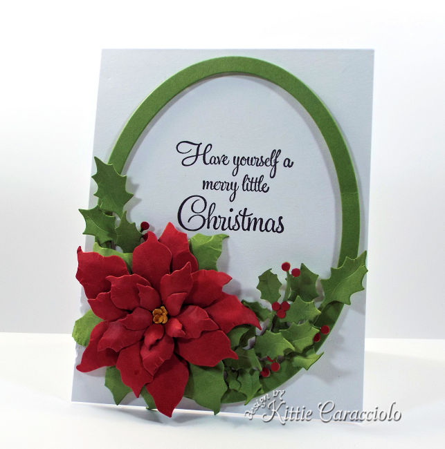 Come see how I made this die cut framed poinsettia and holly.
