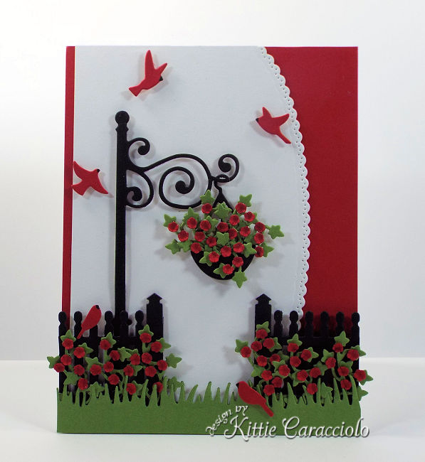 Come see how I made this die cut lamp post garden scene.