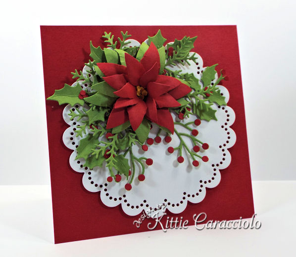 Come see how I made this die cut poinsettia and holly card.