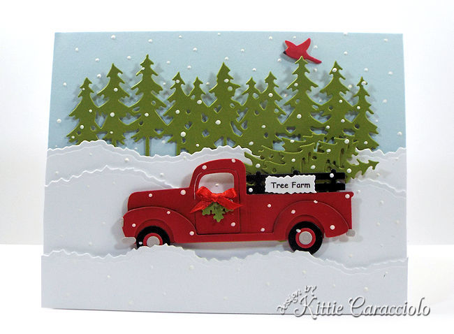 Come see how I made this die cut truck and Christmas trees scene card.