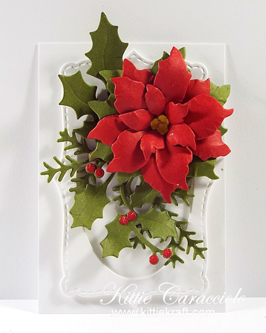 Come see how I made this elegant die cut poinsettia tag.