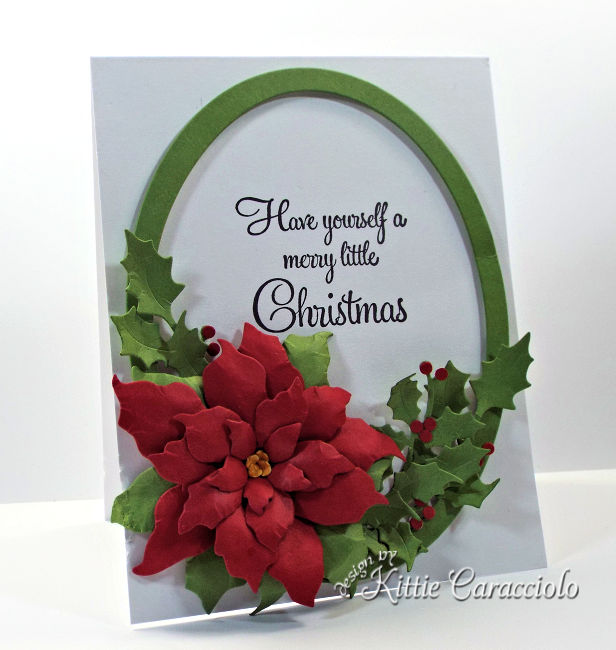 Come see how I made this festive die cut framed poinsettia and holly.