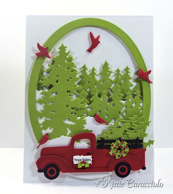 Come see how I made this fun die cut christmas truck and trees card.