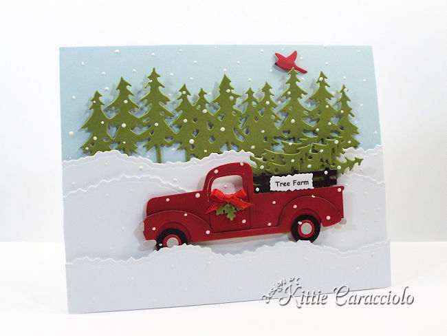 Come see how I made this fun die cut truck and Christmas trees card.