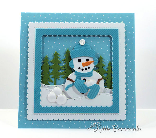 Come see how I made this fun snowman snowball fight scene using dies by Rubbernecker Stamps.