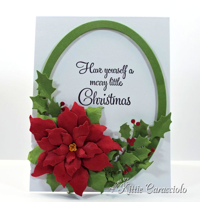 Come see how I made this gorgeous die cut framed poinsettia and holly.