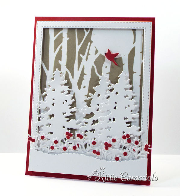 Come see how I made this holiday stenciled birch tree card using the Rubbernecker Birch Forest die.