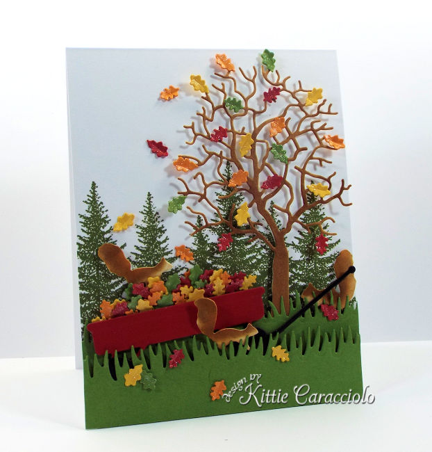 Come see how I made this pretty die cut fall tree and wagon scene.