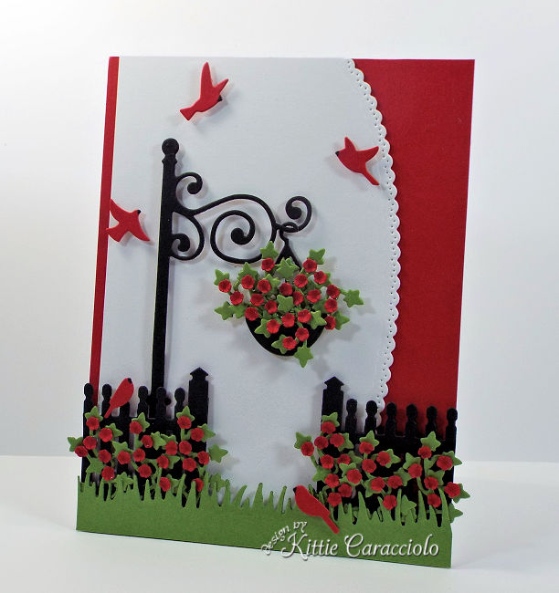 Come see how I made this pretty die cut lamp post garden scene.