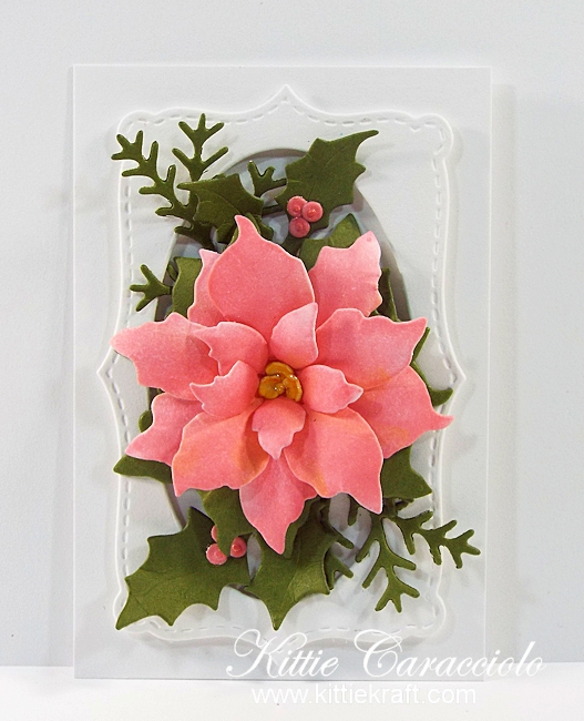 Come see how I made this pretty die cut poinsettia tag.