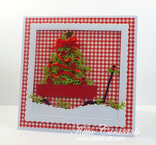 Come see how I made this red wagon and christmas tree card.