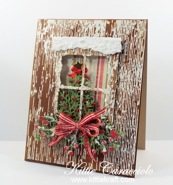 Come see how I made this snowy die cut christmas window.