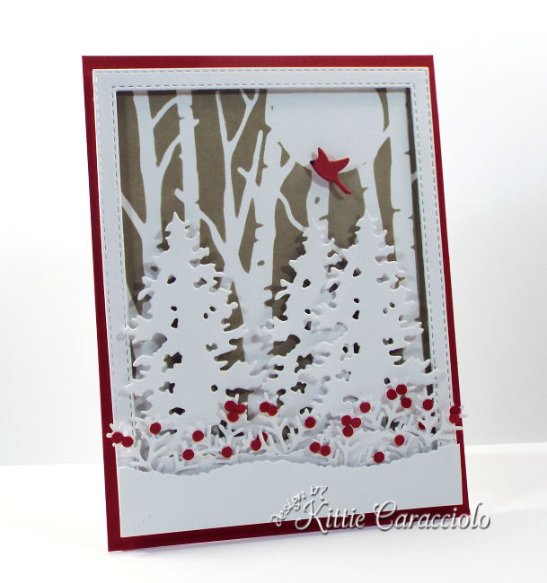 Come see how I made this pretty stenciled birch tree card using the Rubbernecker Birch Forest die.
