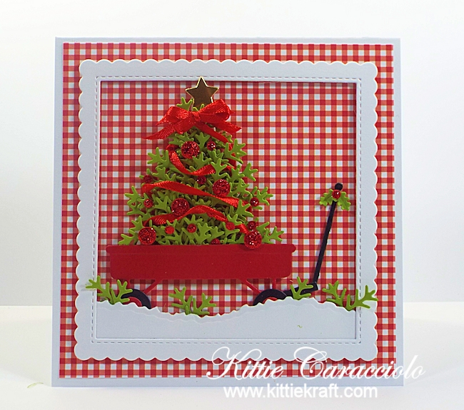 Come see how I made this sweet red wagon and christmas tree card.