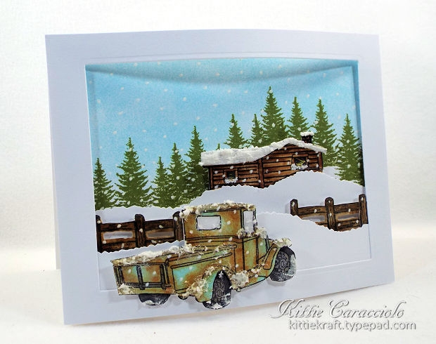 Come check out how I made these old truck winter scenes using Rubbernecker Old Truck stamp and die sets.