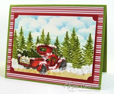 Come check out how I made these snowy old truck winter scenes using Rubbernecker Old Truck stamp and die sets.