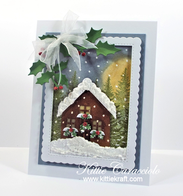 Come see how I made this die cut Christmas cabin scene card.