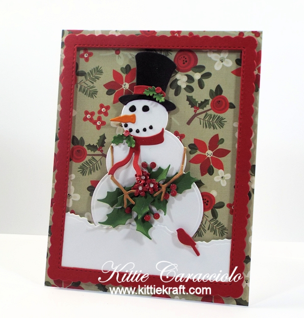 Come see how I made this die cut snowman and holly card.