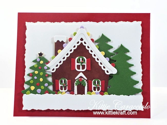 Come see how I made this festive gingerbread house scene card.