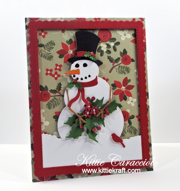 Come see how I made this fun die cut snowman and holly card.