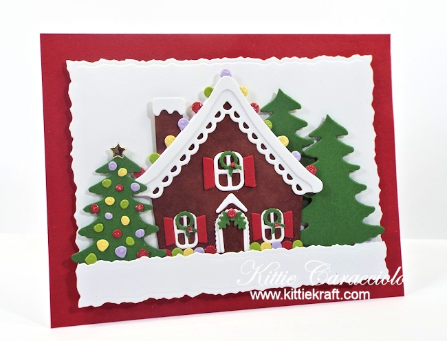 Come see how I made this fun gingerbread house scene card.