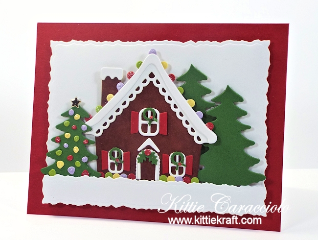 Come see how I made this gingerbread house scene card.