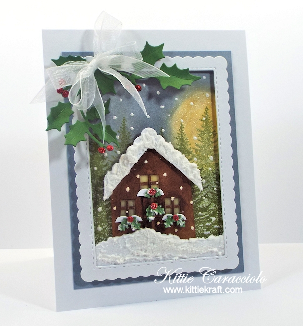 Come see how I made this winter die cut Christmas cabin scene card.