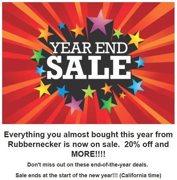 Rubbernecker year end sale 2018