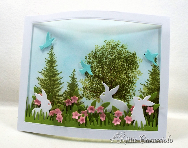 Come over to see how I made this die cut bunnies and bendi frame scene.