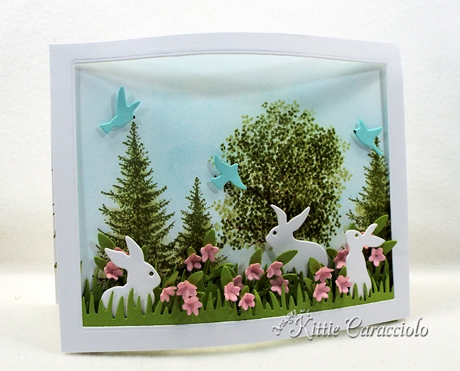 Come over to see how I made this spring die cut bunnies and bendi frame scene.