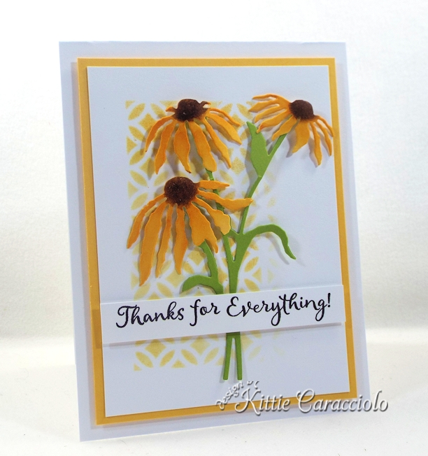 Come see how I made this clean and simple stencil background and flowers card.