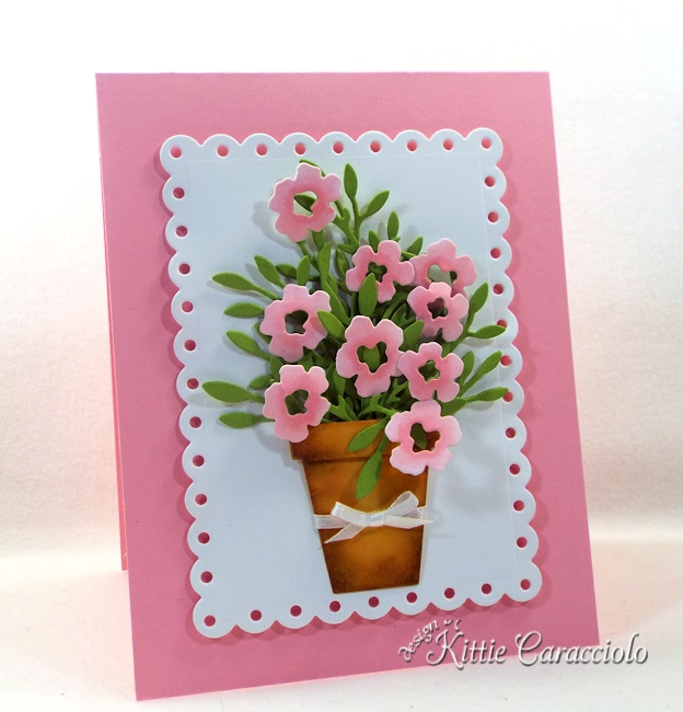 Come see how I made this lovely die cut pot of flowers.