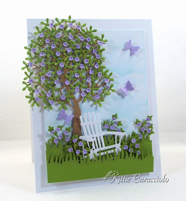 Come see how I made this lovely die cut tree and chair scene.